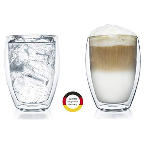 Creano doppelwandiges XXL Thermoglas 400ml, Extra großes hitzebeständiges Kaffeeglas/Teeglas/Latte Macchiato aus Borosilikatglas, 2er Set