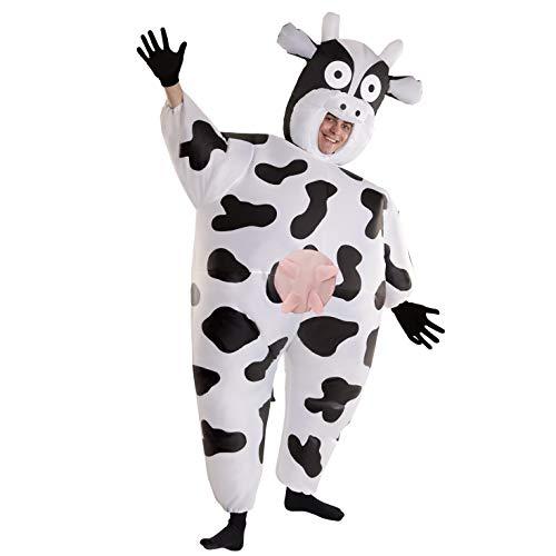 Morph Aufblasbares Kuh Kostüm für Erwachsene, lustiges Tierkostüm Herren Damen, Halloween Karneval