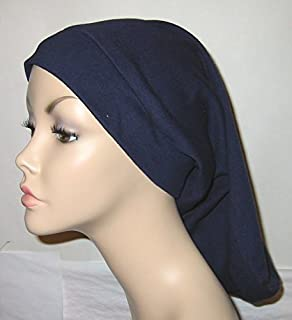 Women's Basic Navy Blue Knit Snood Religious Head Cover Chemo Hat Alopecia Cancer Hat