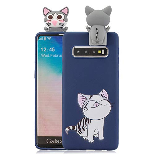 CrazyLemon Hülle für Samsung Galaxy S10 Plus, 3D Niedlich Katze Muster mit Faltbar Stehen Puppe 【Telefon Halter Funktion】 Weich TPU Silikon Handyhülle Voller Schutz für Samsung S10 Plus - Pattern 04