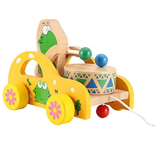 Juguete de tracción de animales, con cuerda larga Coche de juguete de arrastre de madera Juguetes educativos para niños Juguete de tracción, para niños Juguete educativo(frog)