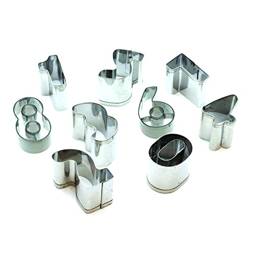 Lily cook KP5129 Emporte-pièces Forme Chiffres 0 à 9, INOX, Argent, 3 x 3 x 2 cm