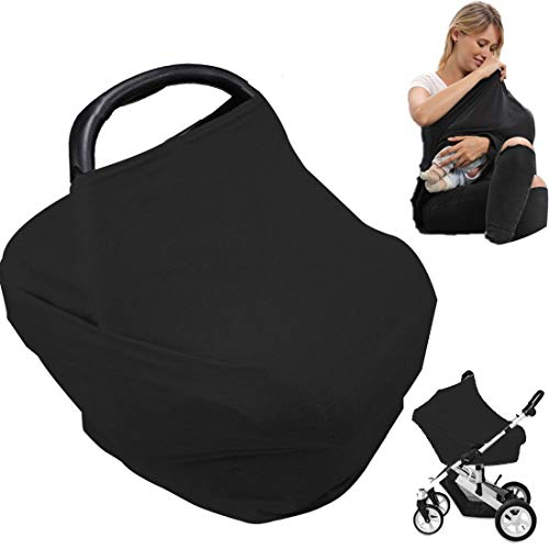 Car Seat Nursing Breastfeeding Cover, Thick Cozy Jersey Carseat Canopy Cover, Stroller Cover for Infant Babies, Extremely Stretchy, Amazing Soft, Convertible Multi Use 6 in 1- Black