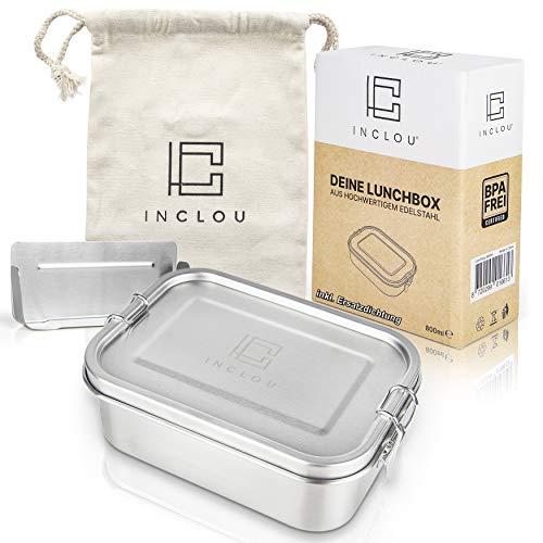 INCLOU® Premium Edelstahl Brotdose [800 ml] inkl. Fächern & GRATIS [Ersatzdichtung] - Die Brotbox ist auslaufsicher & kinderleicht zu Reinigen. Die ideale Lunchbox für Kinder & Erwachsene