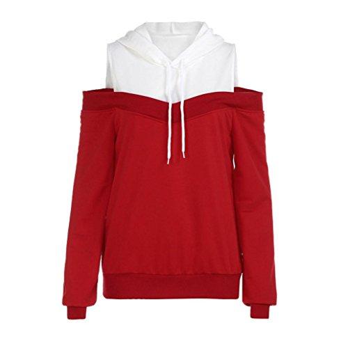 ESAILQ Damen hellblau grün rot gestreift türkis Partykleider Herbst Lange schoene Spitzenkleider suche in gestreiftes Kleider online bestellen (S,Rot)