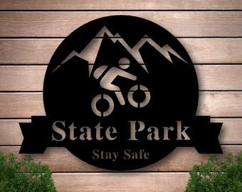 Not Branded Mountain Bike Sign, Family Name Metal Sign, Welcome Sign, Custom Last Name Sign, Personalized Metal Wall Decor, Custom Living Room Decor