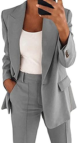 giacca elegante donna Qichenx Donna Blazer Basic Colletto Rivolto Tinta Unita Elegante Ufficio Business Tailleur Carriera Tailleur Giacca Eleganti per Ragazze e Donna (Grigio