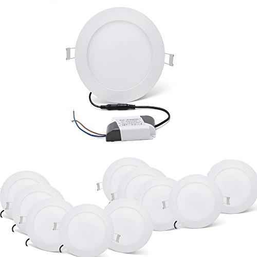 [10 Stück]Ultraslim Runde LED Panel Einbaustrahler Lampe Deckenleuchte Spot 6W Warmweiß