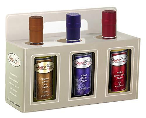 Geschenkbox 3x 0,35L Olivenöl Limone / Balsam Crema Pflaume / Balsam Essig Bianco in premium Qualität