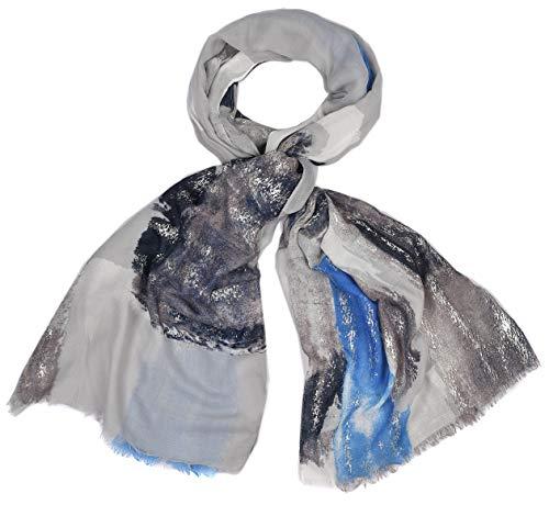 Sjaal dames licht halsdoek lente glitter zilver metallic dier grijs navy blauw