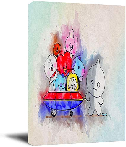 BTS Watercolor Art Abstract Canvas Poster Wall Art Canvas Boards for Poster 16' x 20' Framed Art Drawing Decor for Living Room Bedroom, Stretched and Ready to Hang