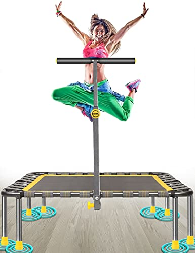 40' Mini Fitness Trampoline Max. Load 220lbs Safe Silent Easy Installation Indoor Exercise Foldable Trampoline for Adults Kids