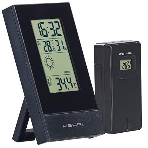 PEARL innen außen Thermometer: Digitale Wetterstation mit Außensensor, Prognose, Uhrzeit & Wecker (Funktermometer)