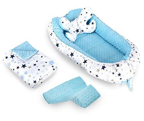Nido Felice - Reductor para cuna/cuna de bebé, universal, juego de 4 piezas, fabricado en la UE: 100% algodón con certificado Oeko-Tex® + 2 cojines + funda azul claro