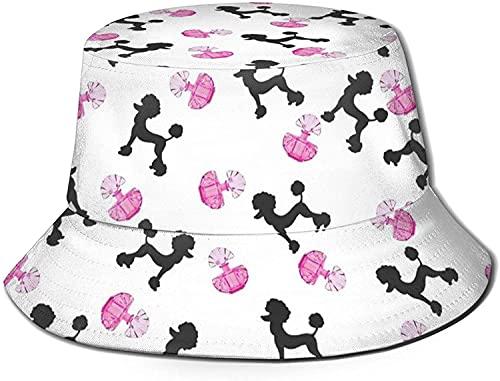 Sombrero de sol impreso, sombrero de pescador, plegable, informal, de viaje, para mujer, hombre, niña, botella de perfume rosa y caniche, tamaño único, pirámide de chile de México, música de cactus