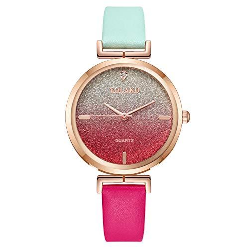 Powzz ornament Reloj de pulsera para mujer con correa de cuarzo, color verde y rojo