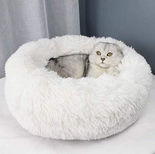 BELLENOV Rund Tierbett Hundebett Haustier Katzenbett Hundesofa Katzensofa Doughnut-Form weichem Kissen Nisthöhle/Bett Weiß 50cm 550g