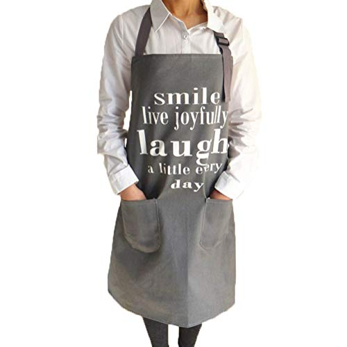 CRJHNS Aprons for Women, Men Kitchen Chef Apron with 2 Pockets - Extra Long Ties, 100% Cotton Canvas Bib Apron for Cooking, Baking, BBQ - 32x28inch