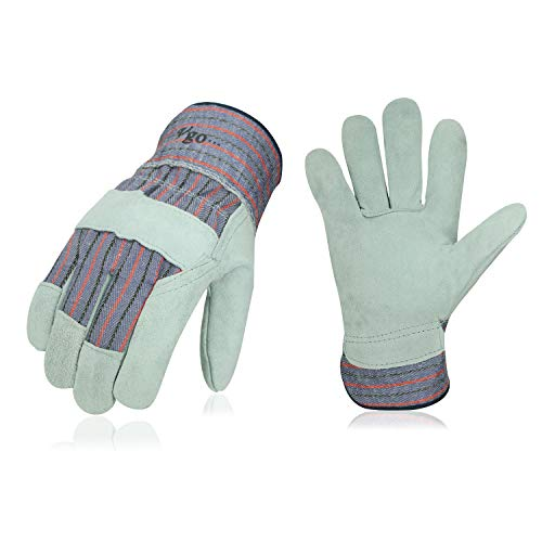 Vgo 3-Pairs Cow Split Leather Men's Work Gloves