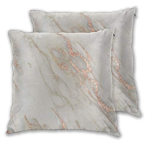 Juego de 2 fundas de almohada cuadradas, de mármol, oro rosa, mármol, metálico, para el hogar, decoración suave, para dormitorio, sofá, sala de estar, 45,7 x 45,7 cm