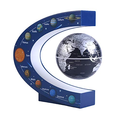 Wowesotica Magnetic Levitating Globe with LED Light Floating World Map, High Tech Gift and Birthday Gifts, Floating Globes World Desk Gadget Decor in Office Home/Display Frame Stand (Black)