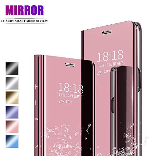 ANWEN Para Xiaomi Redmi Note 8 Funda,Translúcido Espejo Standing Cover Slim Fit Anti-Shock Anti-Rasguño Mirror 360°Protectora Flip Funda para Xiaomi Redmi Note 8-Oro Rosa