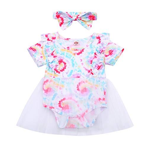 LUCSUN Conjunto de 2 piezas para bebé recién nacido con teñido anudado y falda de tul con volantes