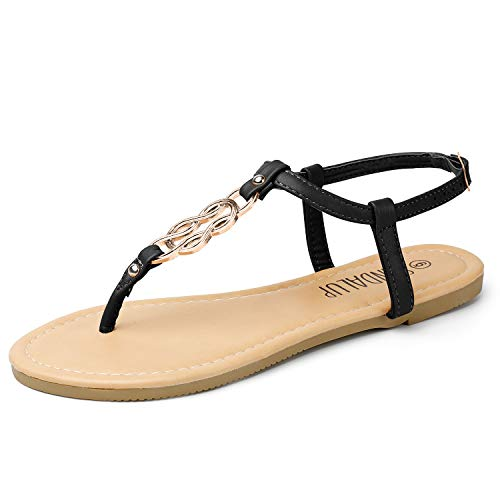 SANDALUP Flat Sandals for Women Thong Style Inlaid with Ring Meta Black-Silver 10
