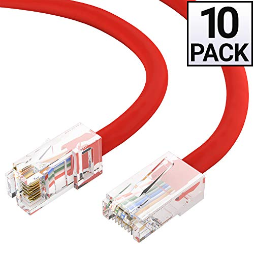 GOWOS Cat5e Ethernet Cable (10-Pack - 6 Feet) Red - 24AWG Network Cable with Gold Plated RJ45 Non-Booted Connector - 1Gigabit/Sec High Speed LAN Internet/Patch Cable - 350MHz