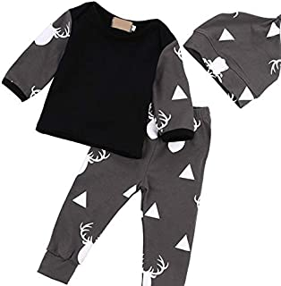3Pcs Christmas Baby Reindeer Shirt Pants Newborn Clothes Set Infant Christmas Top Trousers Hat Outfit