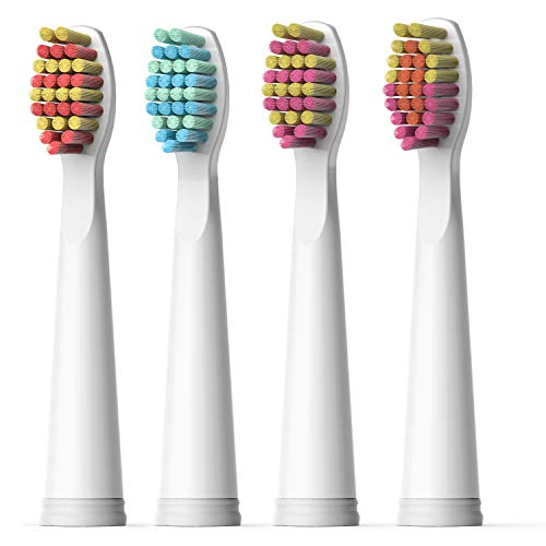 Fairywill Electric Toothbrush Brush Head x 4 for Models of FW-507/FW-917/FW-508/FW-551 Sonic Toothbrushes Pink
