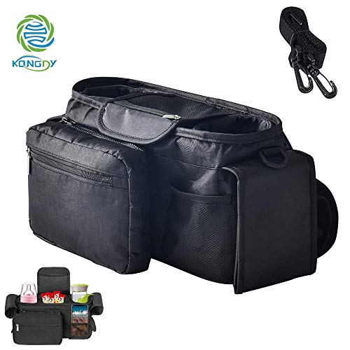 KONGDY Baby Stroller Organizer Bag with Shoulder Strap Universal Fit for All Strollers Multiple Pockets Zipper and Phone Pocket with Insulated Cup Holders Stroller Accessories Easy Installation