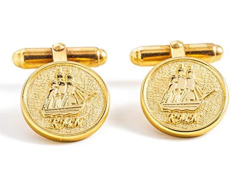 Argenio Napoli Gemelli da Uomo Eleganti Fregata Partenope della Real Marina Napoletana - Polsini da Camicia - T Bar - placcati Oro