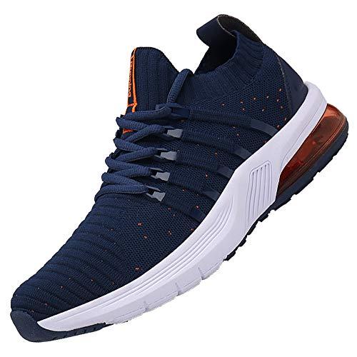 AARDIMI Herren Damen Sportschuhe Laufschuhe mit Luftpolster Turnschuhe Straßenlaufschuhe Sneaker Outdoor Fitness Gym Walkingschuhe Leichte Schuhe (Dunkelblaues Orange, Numeric_42)