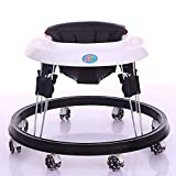 Upgraded Version Baby Walker, Baby 6-24Months Baby Multi-Function Anti-Rollover Folding Walker 6 Heights Adjustable Baby Walkers for Boys&Girls (Black)