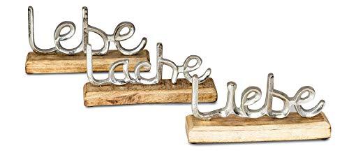 levandeo 3er Set Schriftzug Lache Liebe Lebe L23cm Metall Silber Mango Holz Deko Aufsteller Tischdeko Wohndekoration