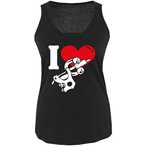 I Love Tattoo - Damen Tank Top Shirt Schwarz/Weiss-Rot Gr. S