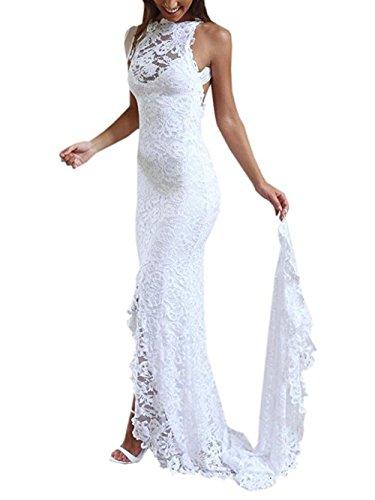 NUOJIA Rückenfrei Spitze Hochzeitskleid Standesamt Boho Böhmisch Brautkleider Meerjungfrau Weiß 34