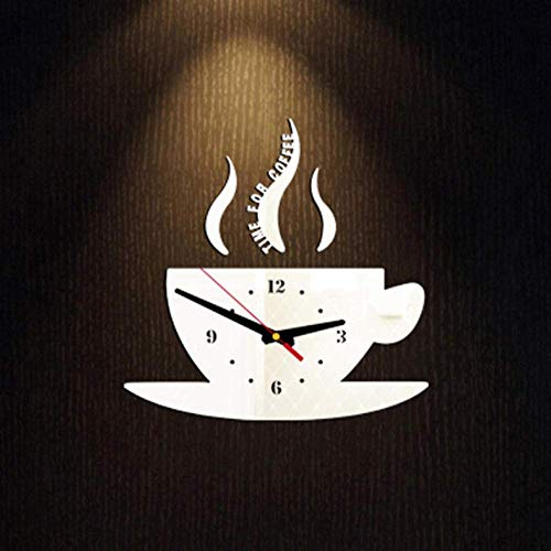 Muur Sticker Wandklok Moderne Keuken Home Decor Koffie Tijd Klok Cup Vorm Muursticker Holle Numerieke Klok