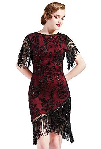 Coucoland Vestido de mujer de los años 20, cuello redondo, manga corta, flecos, estilo charlestón, años 20, con lentejuelas, ideal para cócteles, fiestas, carnavales Negro y rojo vino. L