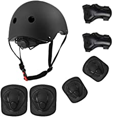 OVOOR Kids Adjustable Helmet Pad Set Suitable for Ages 3-10yrs Girls Boys Toddler,Sport Protective Gear Set Knee Elbow Wrist Pads for Bike Cycling Skating Roller Scooter Outdoor Sports (Black)