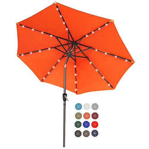 ABCCANOPY 230cm Gartenschirm Sonnenschirm neigbar mit 32 Solar-LED-Lichtern,für Garten,Deck,Schwimmbad,Sandstrand,Orange