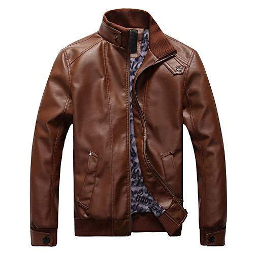Mens Fitted Soft Real Leather Biker Jacket Vintage Casual Coat Men's slim plus fleece jacket-brown plus fleece_M