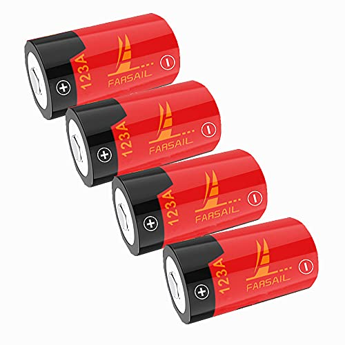 CR123A Lithium Batteries, FARSAIL 4-Pack 800mAH CR123A Batteries for Arlo VMC3030 VMK3200 VMS3130 3230C 3430 3530 Wireless Security Cameras, Flashlight and More