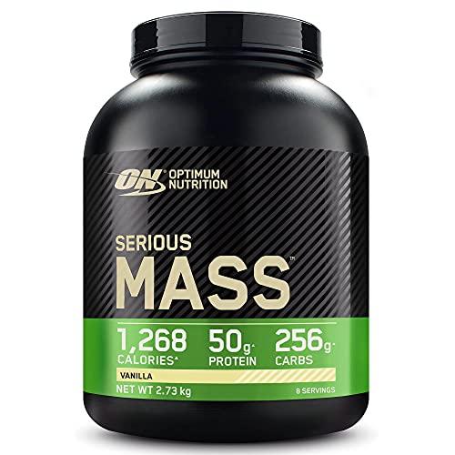 Optimum Nutrition ON Serious Mass Hochkalorisches Weight Gainer Protein Pulver mit Kohlenhydrate, Whey Protein, Vitaminen, Kreatin und Glutamin, Vanilla, 8 Portionen, 2,73kg