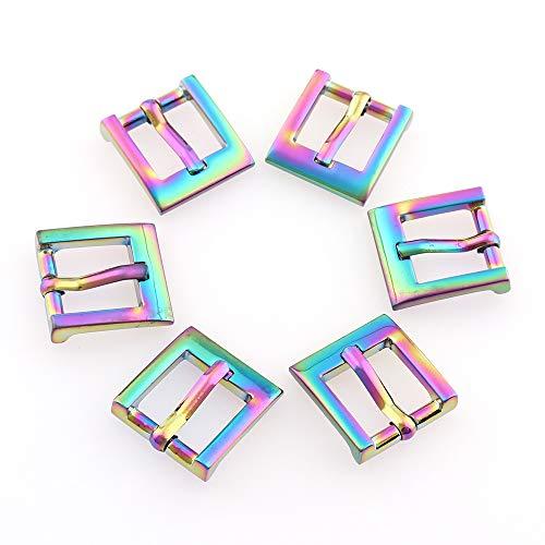 LPNJLALA 10 Unids/Lote Hebillas de Cinturón Cuadradas de Metal Arco Iris con Pin Único 14mm para Zapatos Bolsa de Ropa Accesorio Costura de Regalo
