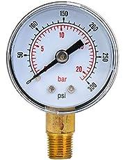 Manómetro mecánico, manómetro BSPT de 1/8 de pulgada para aire, aceite y agua(0-300psi,0-20bar)