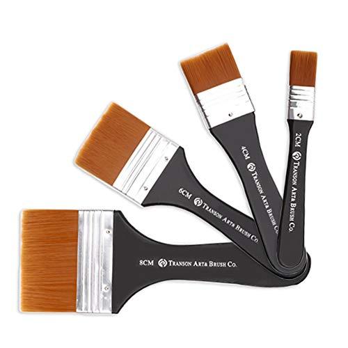 Pinsel-Set, flache Künstlerpinsel, Nylon-Pinsel, professionelle Acryl-Pinsel zum Zeichnen, Aquarell, Acryl, Ölmalerei, Gouache, 4-teilig