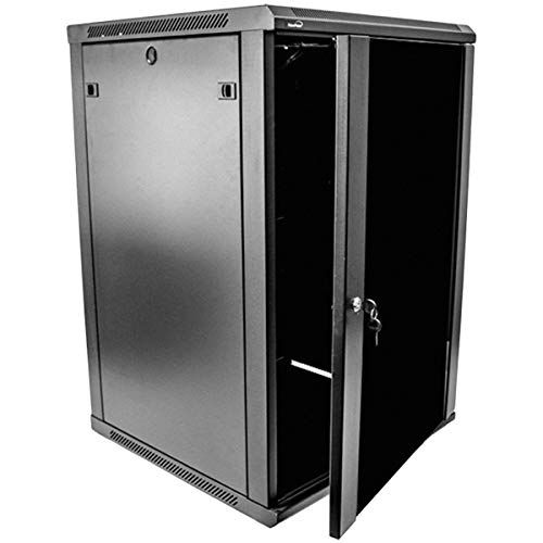 NavePoint 18U Deluxe IT Wallmount Cabinet Enclosure 19-Inch Server Network Rack with Locking Glass Door 24-Inches Deep Black
