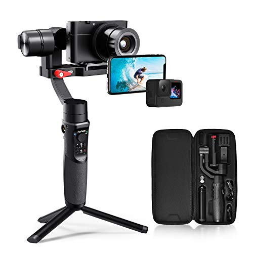 Hohem All in 1 3-Axis Gimbal Stabilizer for Compact Cameras Action Camera Smartphone w  600° Inception Mode, 0.9lbs Payload for iPhone 11 Pro Max Gopro Hero 8 Sony Compact Camera RX100 - iSteady Multi